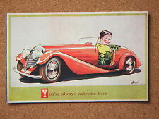 R&L Postcard: Artist, Batch, Pinnacle 115, Red 1950 Classic Sports Car