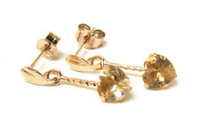 9ct Gold Citrine Dangly drop heart Earrings Gift Boxed Made in UK