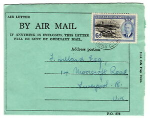 Turks & Caicos 1951 KGVI Airmail AIr Letter to LIverpool England (35)