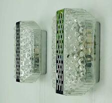 2 x vintage mid century hustadt WANDLAMPEN bubble glas und chrom 60er 70er