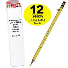 Prismacolor COL-ERASE Erasable Colored Pencils, Yellow, Box of 12