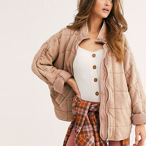 AUTH Free People Dolman Quilted Knit Jacket Champagne Diamond S