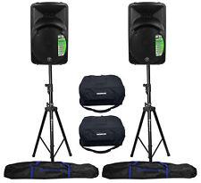 "(2) Mackie SRM450V3 12"" 2000 Watt Powered PA Speakers+Bags+Hydraulic Stands"