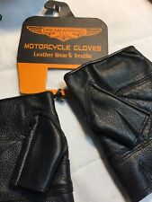 Open Leather Driving Gloves Car, Motorcycle Bikers Genuine Leather Black Xsmall