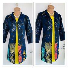 Joseph Ribkoff Navy Multicoloured Metallic Accent Long Coat Uk Size 8-10