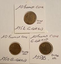 Monnaie Francaise 10 Francs Guiraud 1950,1952,1953B