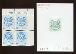 Estonia 1992 016-3 P.P.A BLOCK + RARE COLOR PROOF ESSAY SPECIMEN MNH