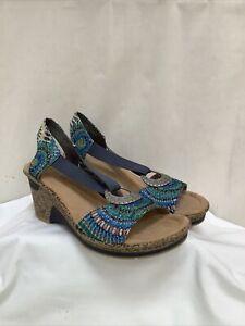 RIEKER Multicoloured Wedges Sandals Size UK6 EU39 Exc Con