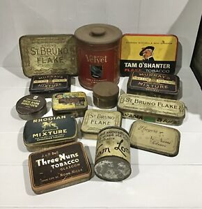 Collection Of 14 Vintage Tobacco Tin Items
