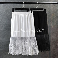 Lace Extender Slip Skirt Extra long Sexy See Through A line Dress Black/White