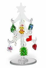 """Glass Christmas Tree - Frosted Glass Tree with 10 Colorful Glass Ornaments - 6"""""""