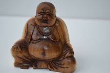 Happy Lucky Buddha Hand Carved Suar Wood Statue 7cm High