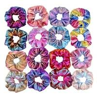 2/4/8x Shiny Metallic Hair Scrunchies Ponytail Holder Elastic Ties Band Girls Dr