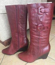 Women's Dark Red Burgundy Wedge Knee High Boots Size 6.5 37 like new RRP $199