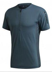 Adidas Men's Terrex Agravic Zip Trail Running T-Shirt Blue Size Medium RRP £51