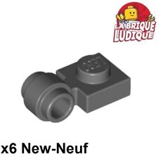 Lego - x6 Plate Modified 1x1 clip ring trou anneau gris f/dark b gray 4081b NEUF