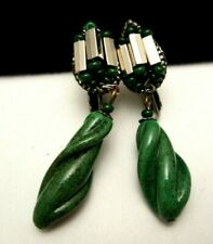 """Rare Vintage 2-1/4"""" Signed Miriam Haskell Jade Glass Dangle Clip Earrings A48"""