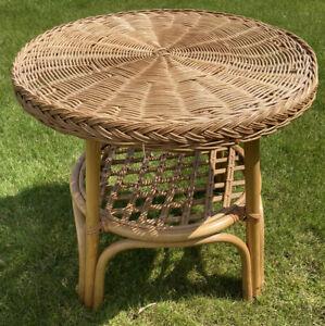 Wicker & Bamboo Round Coffee Table Boho Rattan Small Weave Woven Retro 51cm Tall