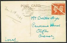 1941 Guernsey 2d Centennial Bisects on Postcard Local Use Very Fine Used