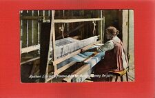 Habitant Life in the Province of Quebec,Canada Weaving the Yarn, hand loom