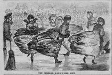 WOMEN ICE SKATING, 1867 ANTIQUE WOOD-CUT ENGRAVING, CENTRAL PARK PRIZE RING