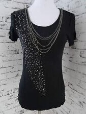 Damen Shirt Top Oberteil Gr. 36/S von comma, schwarz, Deko Ketten + Pailletten