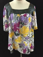 NY Collection woman blouse top size 1X purple black floral short sleeve