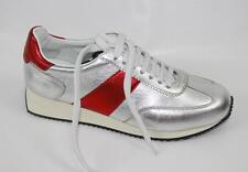 AUTH Yves Saint Laurent Women Sliver Leather Sneaker 39.5