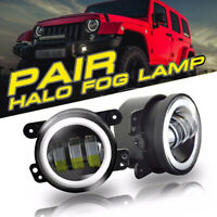 Pair 4 Inch CREE LED Fog Lights White Halo Ring DRL Lamps for Jeep Wrangler JK