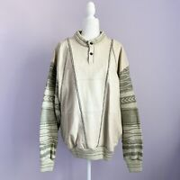 Vintage 90s Saxony Size XL Green Beige Sweater Leather Coogi Cosby Biggie Style