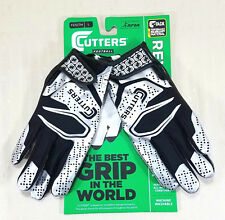 New Cutters Football Gloves Best Grip In The World Black Silver Youth Size L