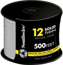 Southwire 500 Ft. 12 Gauge White Solid THHN CU Single Conductor Electrical Wire