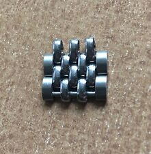 Two vintage steel Beads of Rice watch band links NOS to lengthen many BoR bands