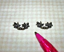 Miniature High Quality Antiqued Leaf Drawer Handles Pulls (2): DOLLHOUSE 1/12