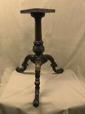 2166D Vtg 3 Legged Occasional Table Base Pedestal ORNATE CARVED LEGS Mahogany