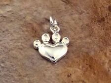 Sterling Silver Dog Paw Heart Charm -0889