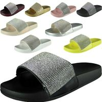 New Womens Ladies Diamante Comfy Rubber Slider Flats Shoes Slides Slippers Size