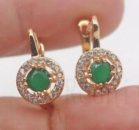 18K Gold Filled - Round Hollow Emerald Jade Gemstone Wedding Women Hoop Earrings