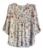 Rose + Olive Womens Plus Size 1X Henley Top Blouse Floral Chiffon Button Front