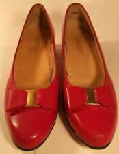 Johansen Vintage Leather Swinger Red Heels Bow Women Size 8 Narrow