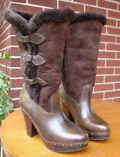FRYE BOOTS - ELLA - DARK BROWN SHEARLING SHEEPSKIN & LEATHER Women's Size 7.5