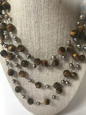 Tigers Eye Fresh Water Pearls Semi Precious Stone Double Strand Long Necklace