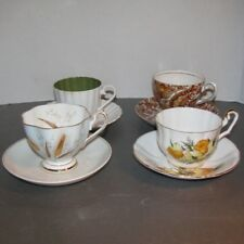 4 Tea Cup and Saucer Mismatched China Wedding Luncheon All Diff Set VTG LOT