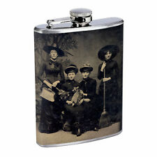 Vintage Witchcraft Witch D1 Flask 8oz Stainless Steel Hip Drinking Whiskey B&W