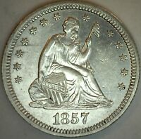 1857 Silver Seated Liberty Quarter US Type Coin AU Arrows 25c Coin K86