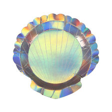 8 Shell Shape Holographic Shiny Paper Party Plates Girls Mermaid Party Tableware