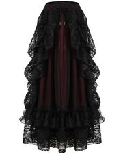 Dark In Love Womens Long Gothic Skirt Black Red Lace Steampunk Victorian Bustle