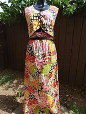 Vintage 1970s 70s Outfit Two Piece Set Floral Hippie Skirt Shirt Top Floral Larg