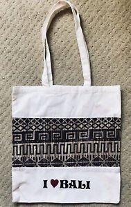 I ❤️ Bali - Reusable Lightweight Cotton Sturdy Shopping Tote Bag. Bali Indonesia