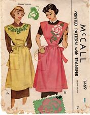Vintage 1949 McCall  Sewing Pattern No.1469 Misses' Bib Apron With Transfer